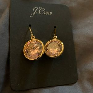 J Crew Pink Crystal droo earrings NWT